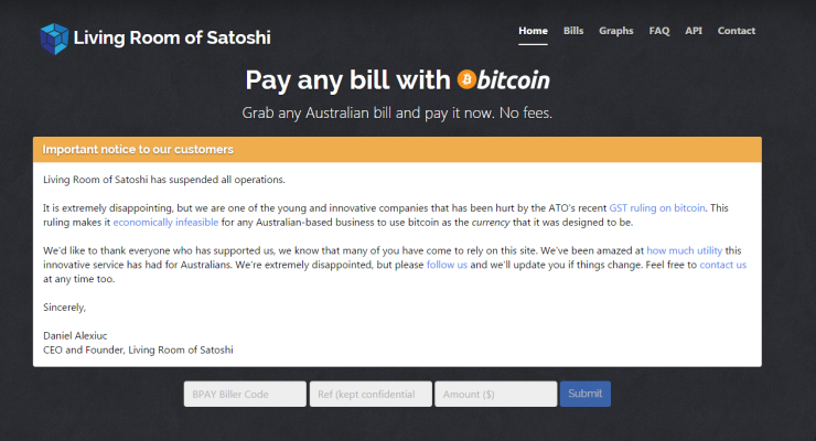 Living Room of Satoshi Lets Australians Pay Bills with Bitcoin