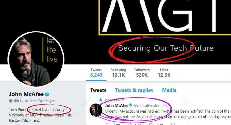 Crypto Pundit John Mcafee Hacked but Hodling