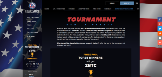 Weekly Online Slots Tournament – TOP 25 Winners Share 2 BTC