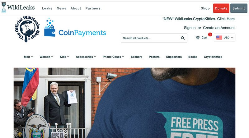 With Coinbase out as a payment processor, WikiLeaks' online shop has turned to CoinPayments.net for cryptocurrency payments, accepting both bitcoin and a variety of altcoins.
