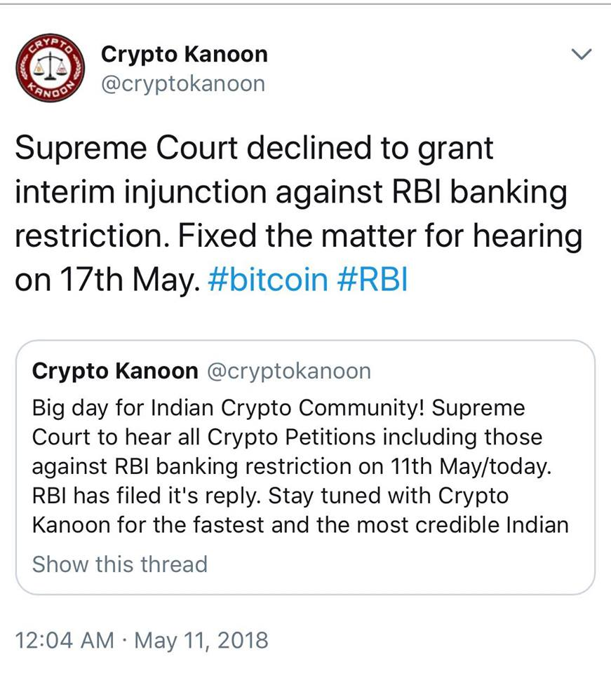 India's Supreme Court Keeps Ban on Banks' Crypto Services, For Now