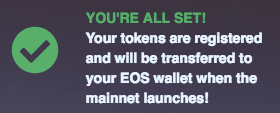 Registering EOS tokens - All Set!