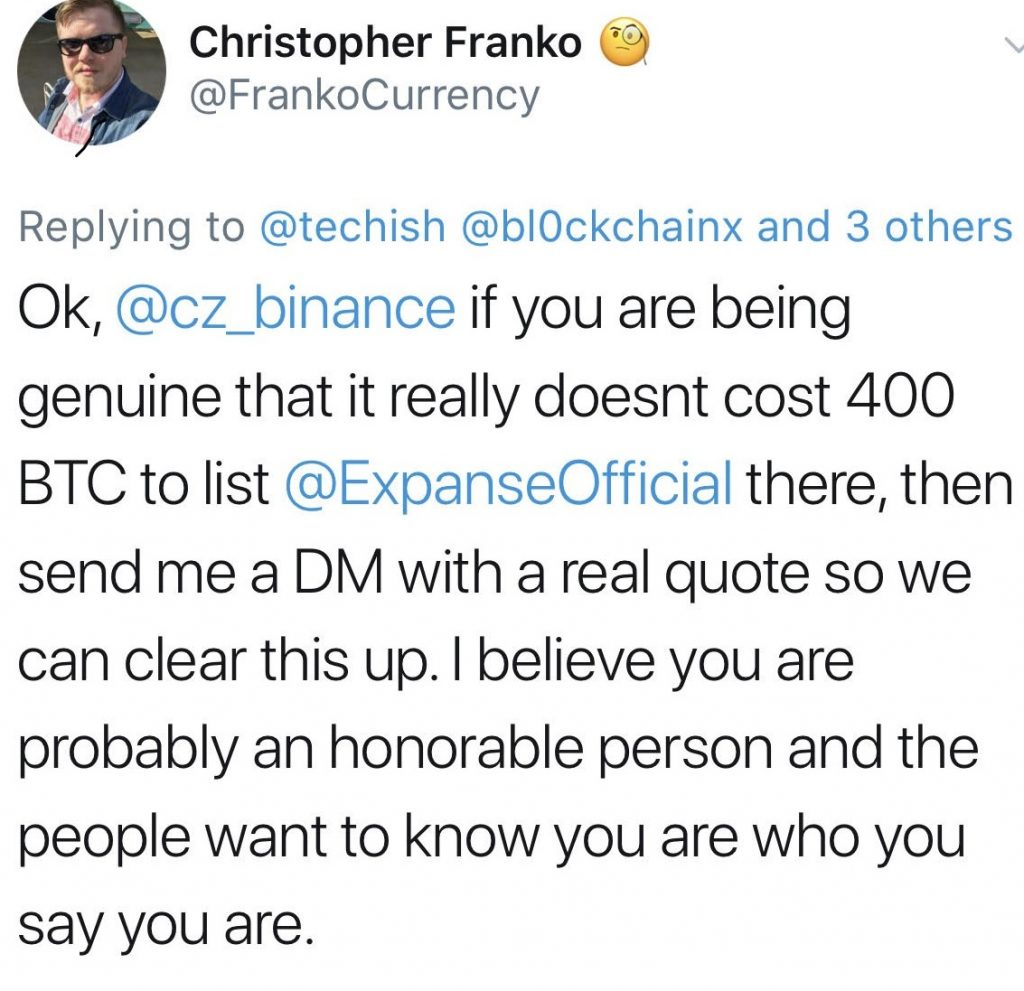 Cryptowhispers: Binance Token Listing Quote 400 Bitcoin, $ 2,517,996