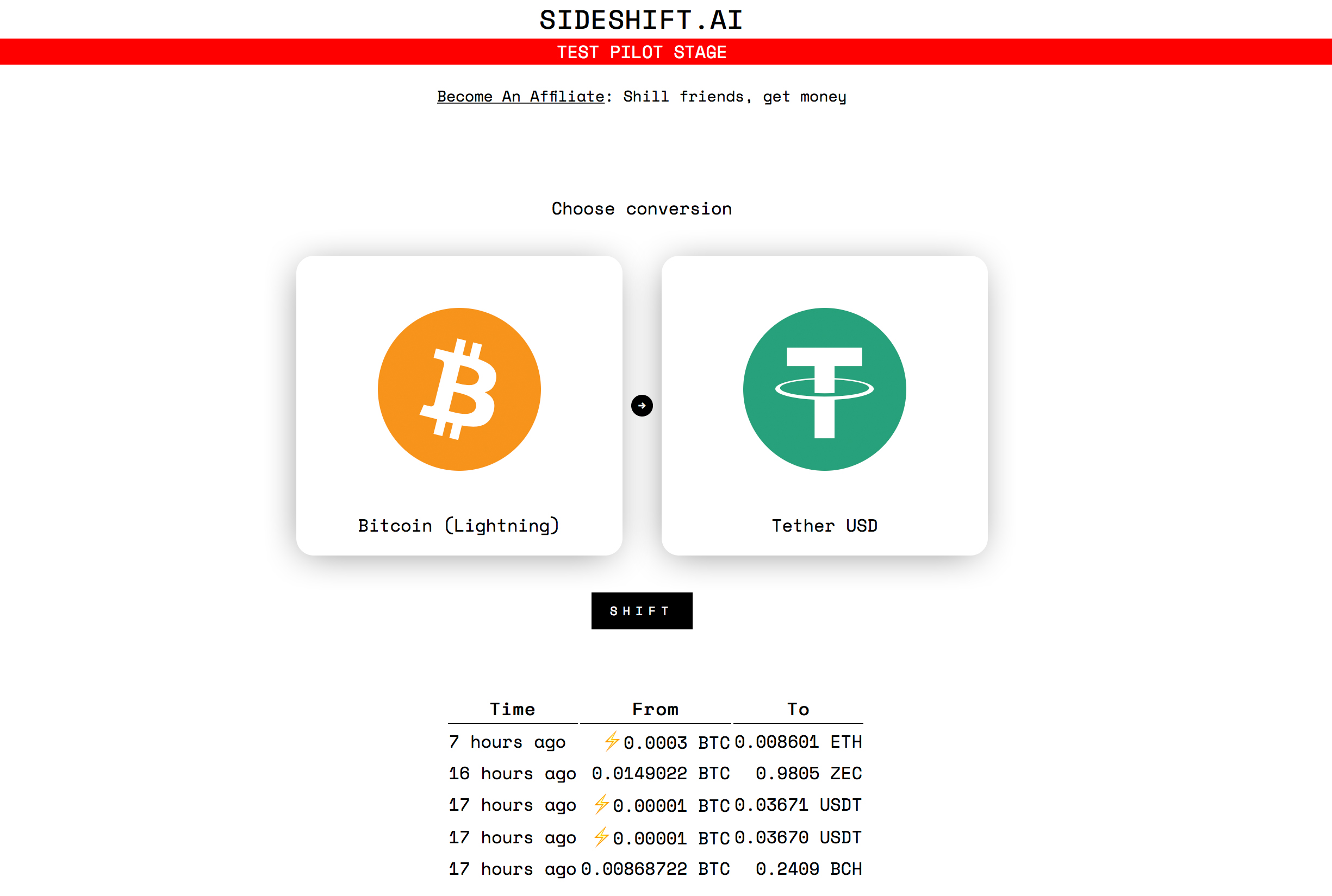 Sideshift App Demonstrates a Trade Between Lightning Network BTC and Tether