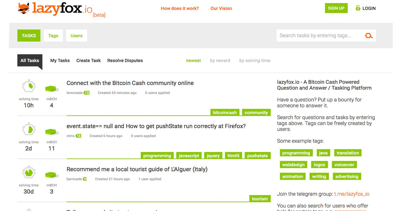 新しいタスクプラットフォームLazyfox.ioがBitcoin現金でユーザーに報酬を与える