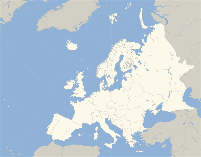 A blank map of Europe. The continental boundary to Asia indicated follows the standard convention of the crest of the Greater Caucasus, the Urals River and the Urals Mountains to the Sea of Kara.