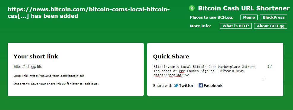 Share Bitcoin Cash Related Shortlinks Using BCH.gg