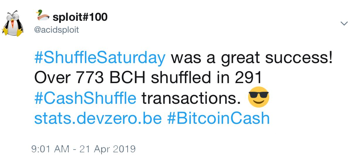 $ 500K of BCH Shuffled in Record-Breaking Cashshuffle Transaction